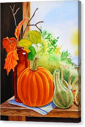 Benches Canvas Print - Fall Leaves Pumpkin Gourd by Irina Sztukowski