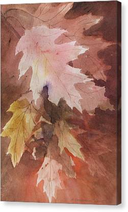 Canvas Print featuring the painting Fall Leaves by Susan Crossman Buscho