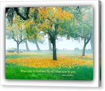 Fall Leaves W Scripture Canvas Print