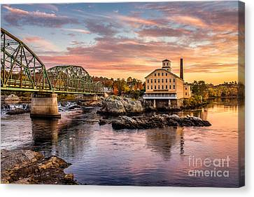 Fall Morning Across From The Bowdoin Mill Canvas Print
