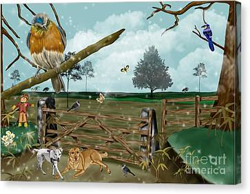 Fall Pastures Canvas Print by Karen Sheltrown