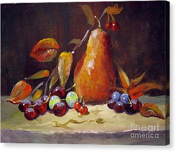Canvas Print featuring the painting Fall Pear by Carol Hart