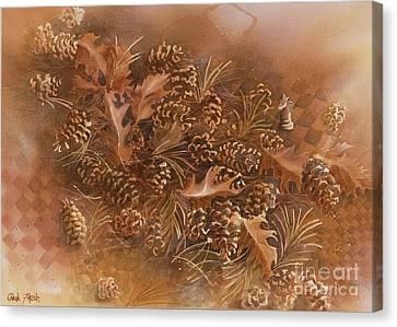 Fall Pinecones Canvas Print by Paula Marsh