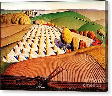 Fall Plowing Canvas Print by Pg Reproductions