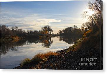 Fall Red River At Sunrise Canvas Print by Steve Augustin