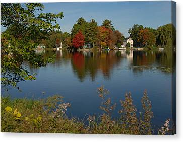 Canvas Print featuring the photograph Fall Reflection by Caroline Stella