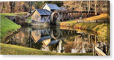 Fall Reflections At Mabry Mill Canvas Print by Adam Jewell