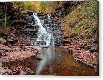 Fall Reflections Of F L Ricketts Falls Canvas Print by Gene Walls