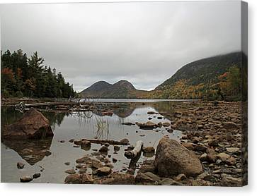 Maine Mountains Canvas Print - Fall Reflections On Jordan Pond by Becca Brann