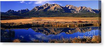 Canvas Print featuring the photograph Fall Reflections Sawtooth Mountains Idaho by Dave Welling