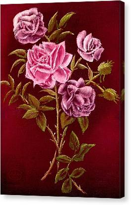 Fall Roses Canvas Print by Ron Chambers