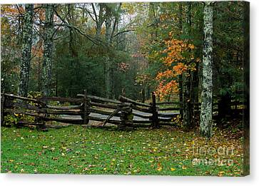 Fall Split Rail Fence Scenic Canvas Print