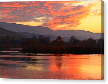 Canvas Print featuring the photograph Fall Sunset by Lynn Hopwood