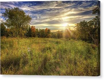Fall Sunset Over Prairie - Retzer Nature Center - Waukesha Wisconsin Canvas Print