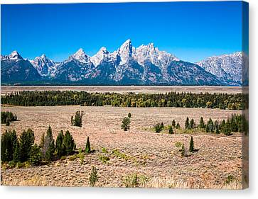 Canvas Print featuring the photograph Fall Tetons   by Lars Lentz