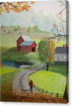 Canvas Print featuring the painting Fall Walk by Norm Starks
