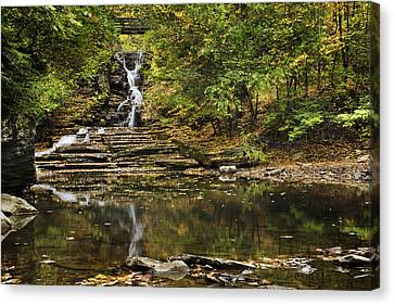 Fall Waterfall Creek Reflection Canvas Print by Christina Rollo