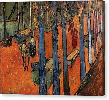 Falling Autumn Leaves Canvas Print by Vincent van Gogh