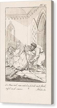 Falling Cleric And A Man With A Letter, Danil Veelwaard Canvas Print by Dani?l Veelwaard (i) And Jacob Smies And Fran?ois Bohn