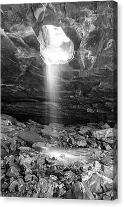 Falling Down - Glory Falls In Black And White Canvas Print