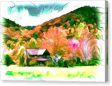 Falling Farm Blended Art Styles Canvas Print by John Haldane
