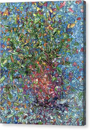 Stained Glass Canvas Print - Falling Flowers by James W Johnson