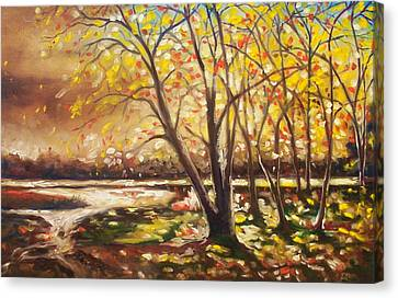 Canvas Print featuring the painting Falling Leaves by Emery Franklin