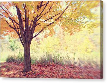 Canvas Print featuring the photograph Falling Leaves by Heather Green