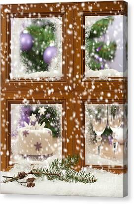 Falling Snow Window Canvas Print by Amanda Elwell