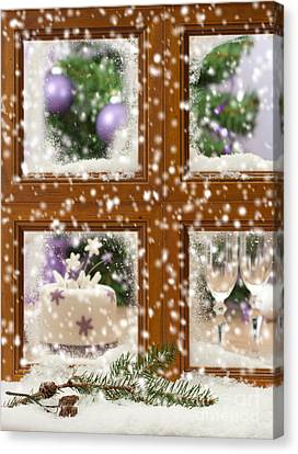 Falling Snow Window Canvas Print