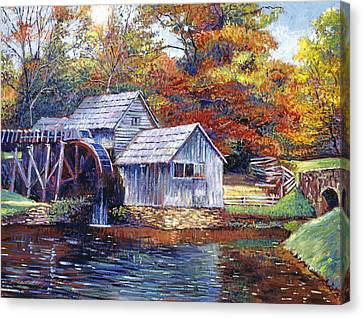 Grist Mill Canvas Print - Falling Water Mill House by David Lloyd Glover