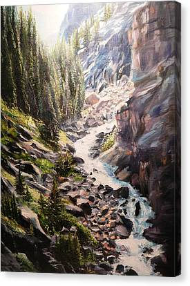 Falls Below Rimrock Lake Canvas Print by Patti Gordon