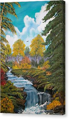 Canvas Print featuring the painting Rushing Waters  Falls  by Sharon Duguay