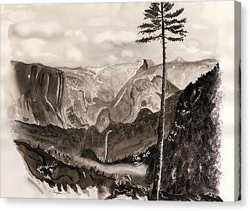 Falls Of The Yosemite Painting Canvas Print by Warren Thompson