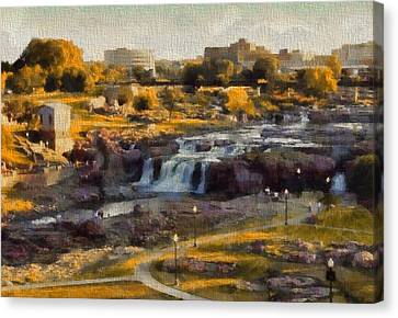 Falls Park In Autumn Sioux Falls South Dakota Canvas Print by Dan Sproul
