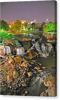 Falls Park Waterfall At Night In Downtown Greenville Sc Canvas Print