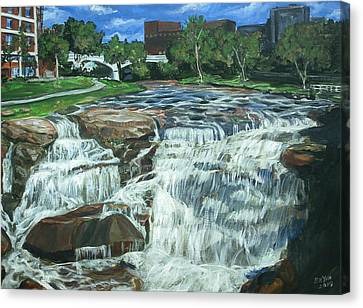 Canvas Print featuring the painting Falls River Park by Bryan Bustard