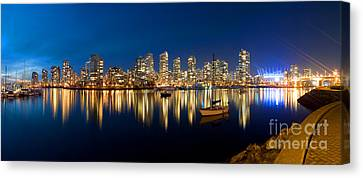 Vancouver At Night Canvas Print - False Creek At Dusk II by Terry Elniski