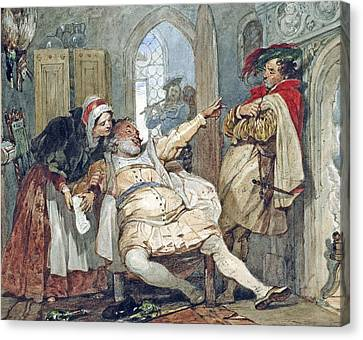 Debt Canvas Print - Falstaff Bardolph And Dame Quickly by Francis Phillip Stephanoff