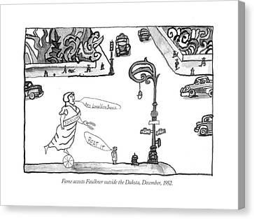 Fame Accosts Faulkner Outside The Dakota Canvas Print by Saul Steinberg