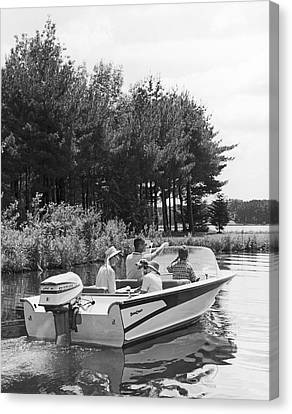 Family Boat Ride Canvas Print by Underwood Archives