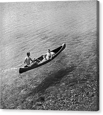Family Canoe Excursion Canvas Print