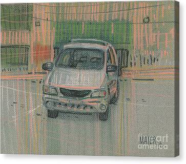 Canvas Print featuring the painting Family Car by Donald Maier