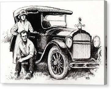 Canvas Print featuring the drawing Family Car by Natasha Denger
