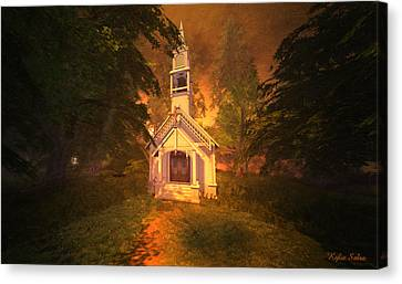 Canvas Print featuring the digital art Family Chapel by Kylie Sabra