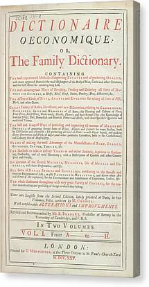 Dictionary Canvas Print - Family Dictionary by British Library