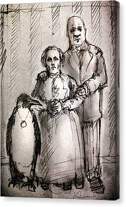 Penguin Canvas Print - Family by H James Hoff