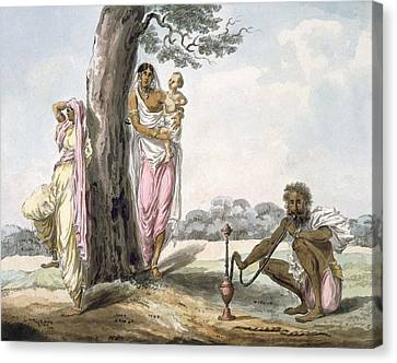 Family Man Smoking A Hookah And Girl Canvas Print by Indian School