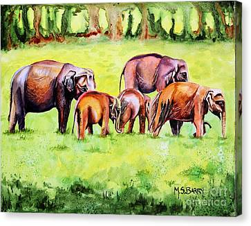 Canvas Print featuring the painting Family Of Elephants by Maria Barry