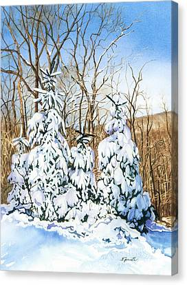 Canvas Print featuring the painting Family Of Four Trailside At 7 Springs by Barbara Jewell